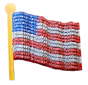 Bottle Cap Patriotic American Flag -Was $250 - NOW 195.