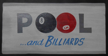 "POOL HALL ""Antiqued"" Sign by George Borum"