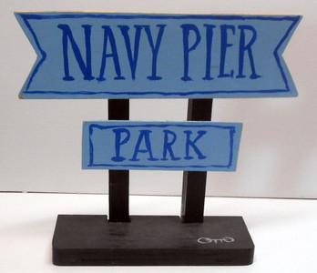 NAVY PIER SIGN POST by OTTO SCHNEIDER-Was $25-Now$15