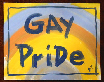 GAY PRIDE PAINTING BY  OUTSIDER FOLK ARTIST JOHN TAYLOR
