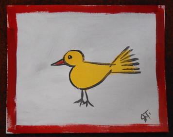 YELLOW BIRD PAINTING BY OUTSIDER FOLK ARTIST JOHN TAYLOR