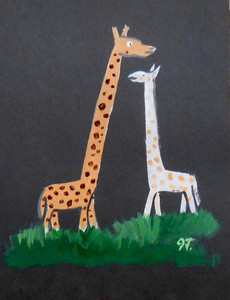 TWO GIRAFFES PAINTING BY OUTSIDER FOLK ARTIST JOHN TAYLOR