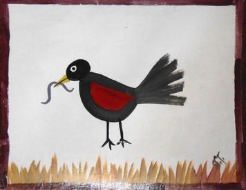 RED WING BLACKBIRD #873 BY FOLK ARTIST JOHN TAYLOR