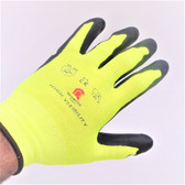 Hi-Viz GLOVES w/ Nylon Back & Black Nitrile Palms