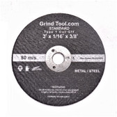 "3"" x 1/16"" x 3/8""  Type 1 Grind Tool Cut Off Wheel"