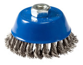 "4"" dia x 5/8""-11 x .020"" Knotted Wire Cup Brush Stainless Steel"