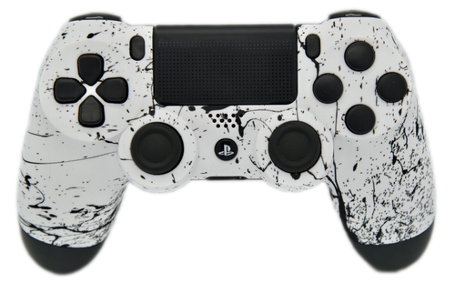 White & Black Splatter PS4 Controller