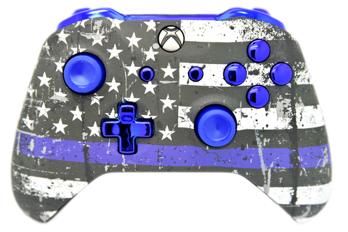 Blue Line & Blue Chrome Xbox One S Controller | Xbox One