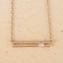 "N3249 14""-16"" Worn Gold Wire Wrapped Bar"
