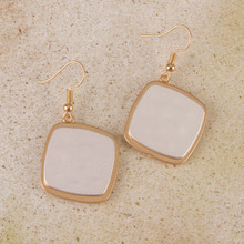 E2093 Two Tone Hammered Drop Earrings