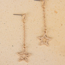 E2103-GD Star Drop Chain Earrings