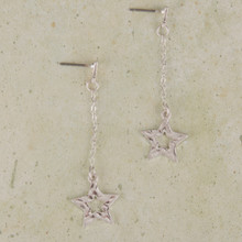 E2103-SL Star Drop Chain Earrings