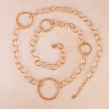 "N3266-GD 30"" Large Link Chain Necklace with Circles"
