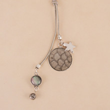 "N3267-GY 36"" Lariat Necklace with python embossed disk"