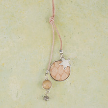 "N3267-BR 36"" Lariat Necklace with python embossed disk"