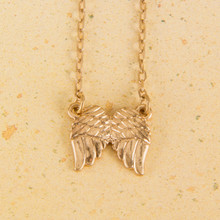 "N3270-GD 16"" Reversible ""Never Alone"" Wings Necklace"