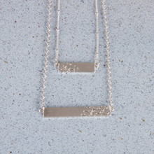 "N3271-SL 15"" Layered Stamped Bar Necklace"