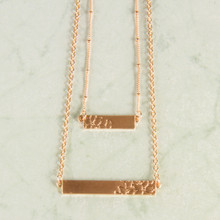 "N3271-GD 15"" Layered Stamped Bar Necklace"