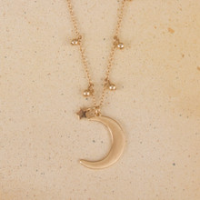 "N3275-GD 16"" Moon Necklace in Satin Finish"