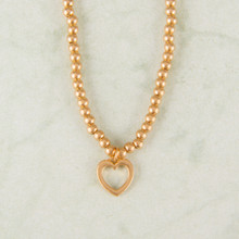 "N3277-GD 15""Heart Ball Bead Necklace Worn Gold"