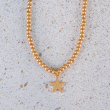 "N3278-GD 15""Star Ball Bead Necklace Worn Gold"