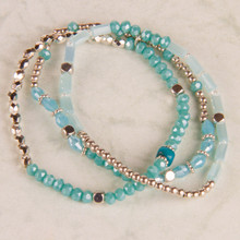 B1215-BL Beaded Stretch Bracelet set of 3