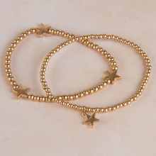 B1213-GD Ball Beads Stretch Bracelet with Stars
