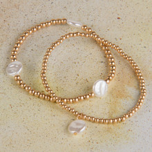 B1214-GD Ball Beads Stretch Bracelet with Pearls