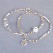 B1214-SL Ball Beads Stretch Bracelet with Pearls
