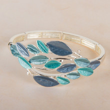 B1218 Multi Leaf Stretch Bracelet