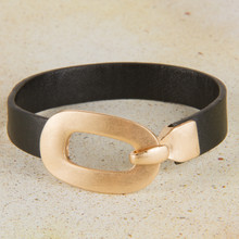 "B1219-GD Leather ""Buckle"" Bracelet"