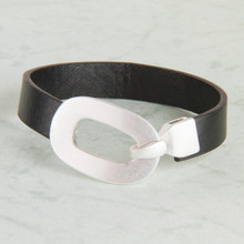 "B1219-SL Leather ""Buckle"" Bracelet"