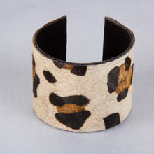 B1220-WH Faux Animal Hair Cuff Bracelet