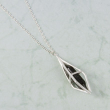 "N3282-BK 22"" Black Stone in Silver Cage Necklace"