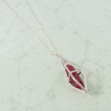 "N3282-RD 22"" Red Stone in Silver Cage Necklace"