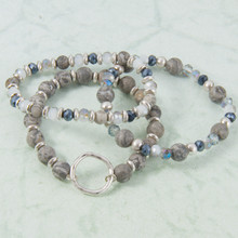 B1222-GY Set of 3 Stone Stretch Bracelet with Circle Charm