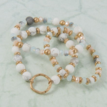 B1222-WH Set of 3 Stone Stretch Bracelet with Circle Charm