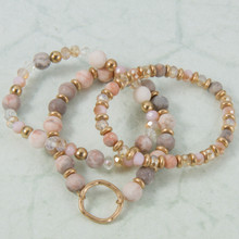B1222-PK Set of 3 Stone Stretch Bracelet with Circle Charm