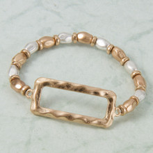 B1223-GD Stretch Bracelet with Rectangle Charm