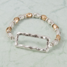B1223-SL Stretch Bracelet with Rectangle Charm
