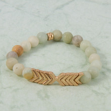 B1224-MI Chevron Stone Stretch Bracelet