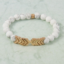 B1224-WH Chevron Stone Stretch Bracelet