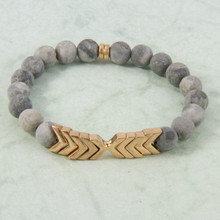 B1224-GY Chevron Stone Stretch Bracelet