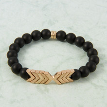 B1224-BK Chevron Stone Stretch Bracelet