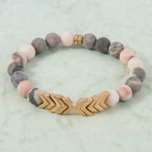 B1224-PK Chevron Stone Stretch Bracelet