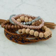 B1225-BR set of 5 Bracelets, Wrap with Tassel, Wood & Glass Beads