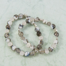 B1226-GY Set of 2 Stone and Silver Stretch Bracelet