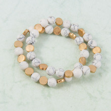 B1226-WH Set of 2 Stone and Gold Stretch Bracelet