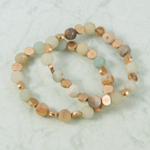 B1226-MI Set of 2 Stone and Gold Stretch Bracelet