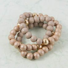 B1227-BR Set of 3 Wood Stretch Bracelet